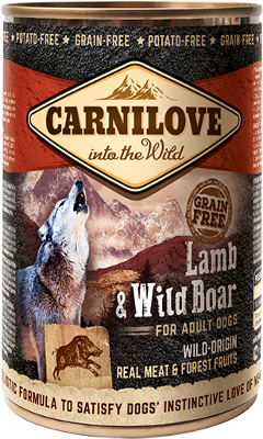 Lamb & Wild Boar for adult dogs can